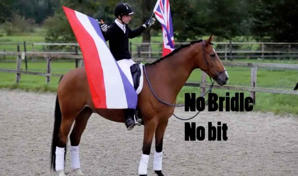 Fin Jopson riding dressage with no bridle bitless
